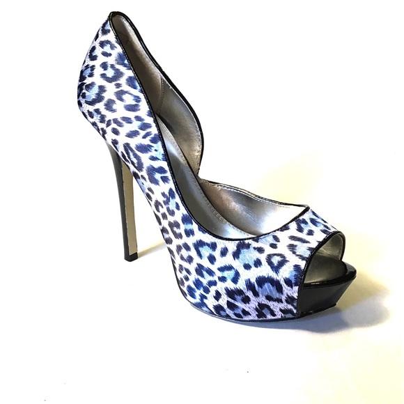 Bakers Shoes - Bakers Animal Print Peep Toe Platform Stilettos